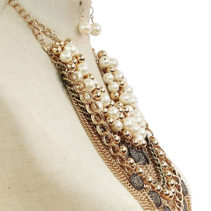 Pearl Chain Link Necklace & Earring Set