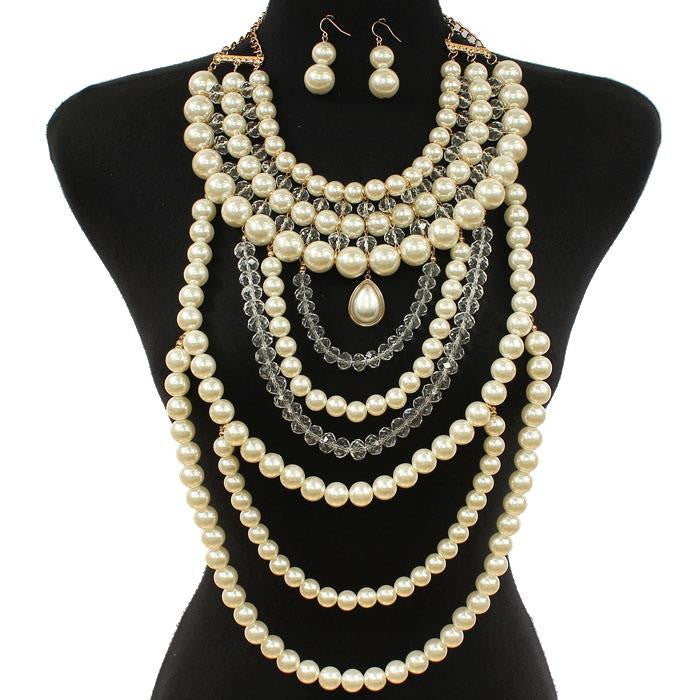 Queen Of Pearls Necklace & Earring Set