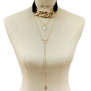 Metal Link Drop Choker Necklace & Earring Set