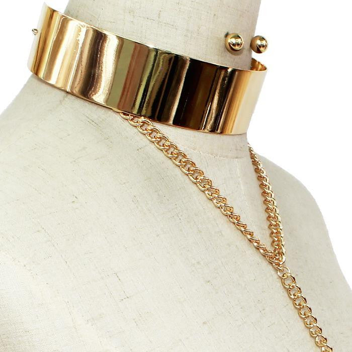 Metal Bar Chain link Choker Necklace & Earring Set