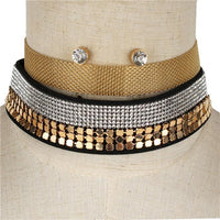 Mesh layered Choker Necklace Set