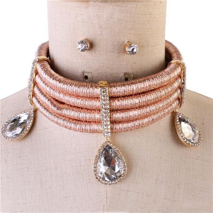 Crystal Cord Necklace Set