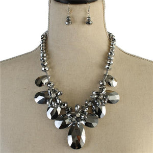 Glass crystal flower  Necklace Set