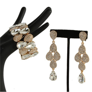 Crystal Teardrop Earring & Bracelet Set