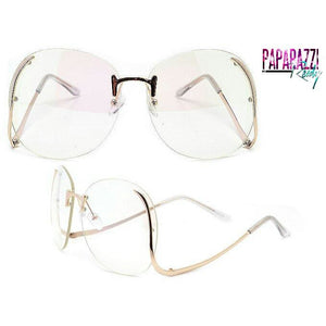 vintage sunglasses, clear sunglasses, rimless, rimless sunglasses, paparazzi ready
