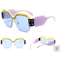 Color Block Semi Rimless Sunglasses