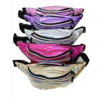 Holographic iridescent triple Zip Fanny pack
