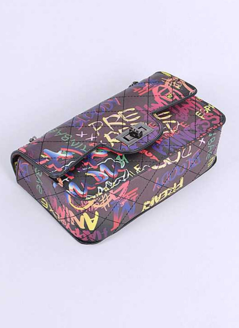 Quilted Graffiti Glam Handbag