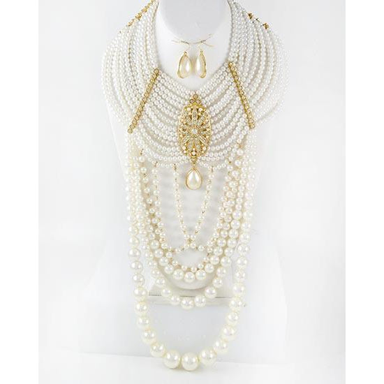 Crown Of Pearls Necklace Set (Gold)