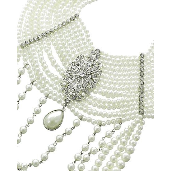 Crown OF Pearls Necklace Set (Silver)