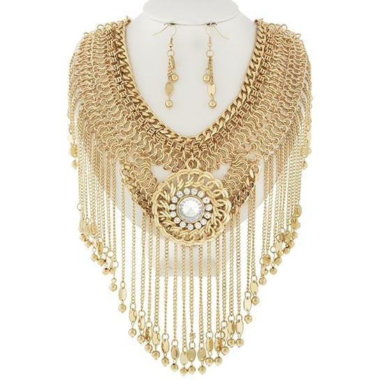Golden Tassel Necklace & Earring Set
