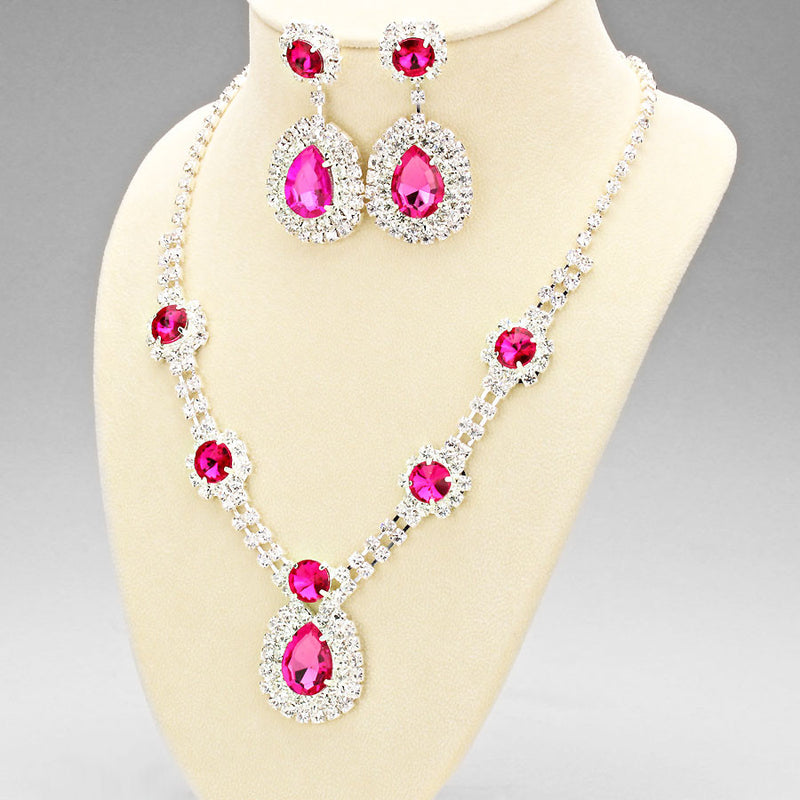 Princess Tear Drop Rhinestone Necklace & Earring Set