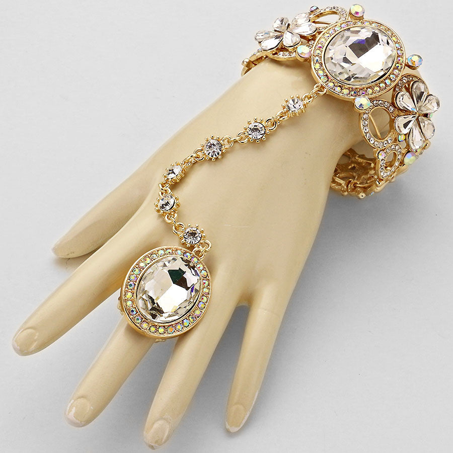 Rhinestone Oval Crystal Floral Hand Chain