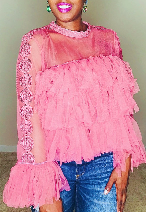 Feminine Blush Tiered Ruffle Blouse