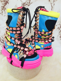 Take a hike Bejeweled boots (pink crystals)