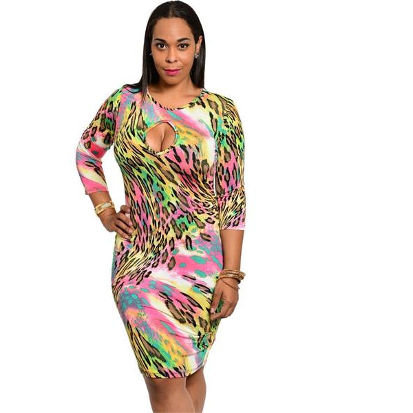 Leopard Rainbow Bodycon Dress (Plus-Size)