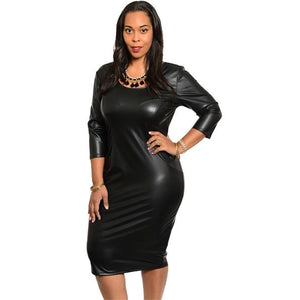 Faux Leather MIDI DRESS (Plus-Size)
