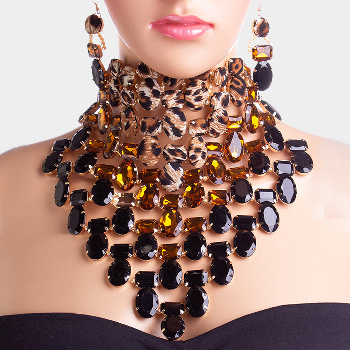 Own the Night Leopard Bib Choker Necklace Set