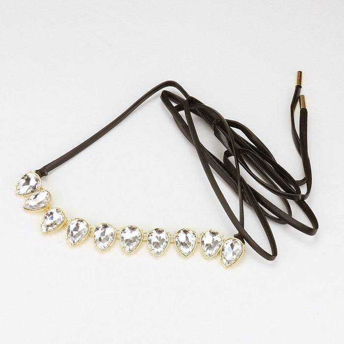 Rhinestone Leather Tie Choker