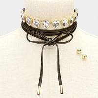 leather tie choker, choker , paparazzi ready