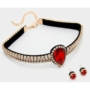 Rhinestone Teardrop Choker Necklace & Earring Set
