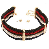 Layered Cord Choker Necklace & Earring Set