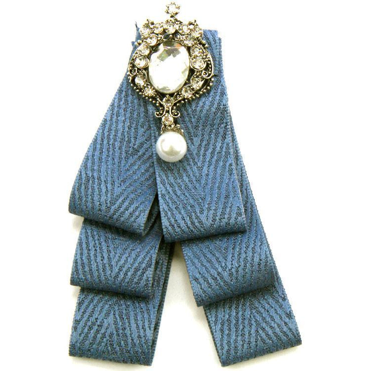 Crystal Denim Bow Tie Brooch