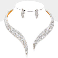 Rhinestone Paved Open Choker Necklace & Earring Set