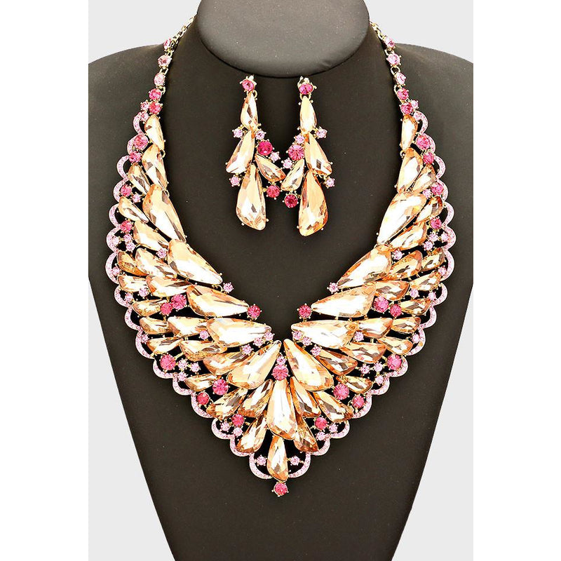 Floral Cluster Rhinestone Necklace & Earring Set