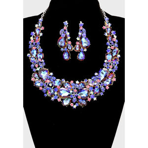 Rhinestone Tear Drop Floral Vine Necklace & Earring Set