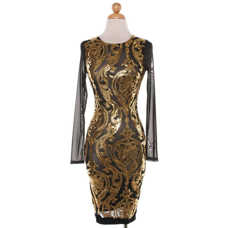 new years eve dress, bodycon, gold dress, mesh