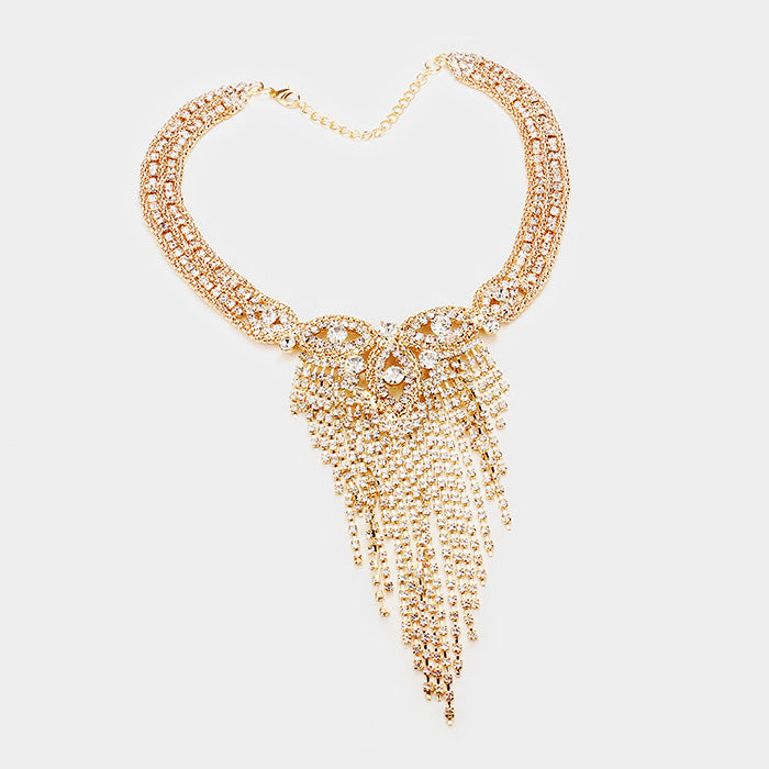 Rhinestone Pave Crystal Fringe Necklace