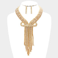 Rhinestone Fringe Bib Necklace and Earring Set