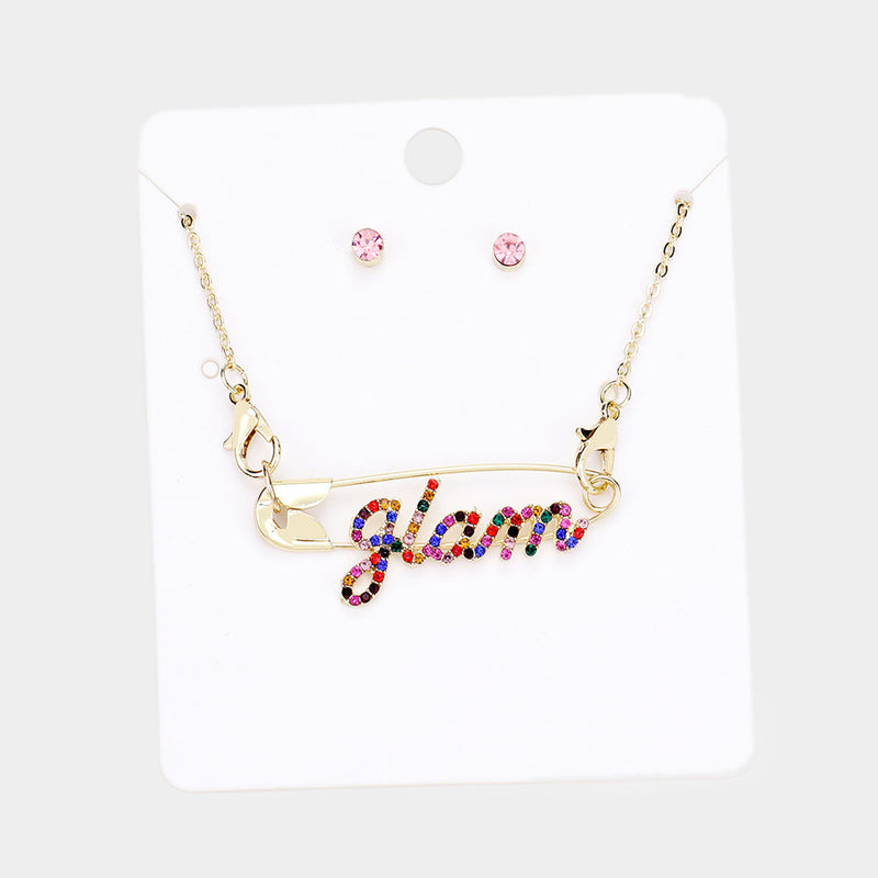 Glam Rhinestone Safety Pin Necklace Set