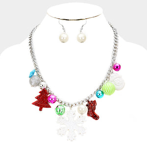 Snowflake Charm Necklace & Earring Set