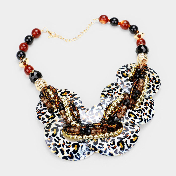 Leopard Round Shell Beaded Necklace Set