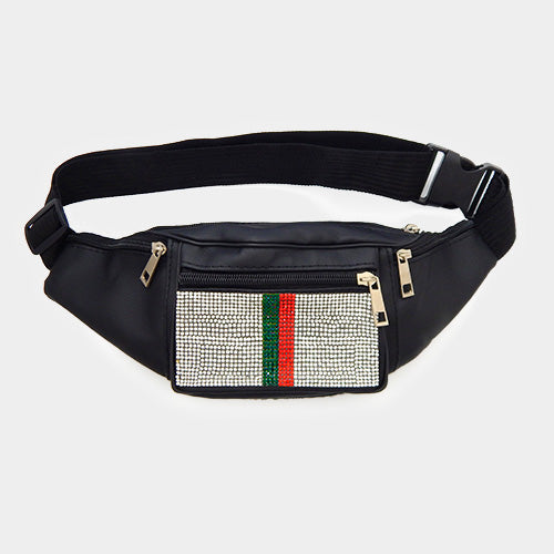 Color Block Crystal Embellished Fanny Pack