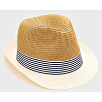 Two Tone Striped Fedora Hat