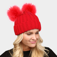 Double Fur Pom Pom Beanie Hat