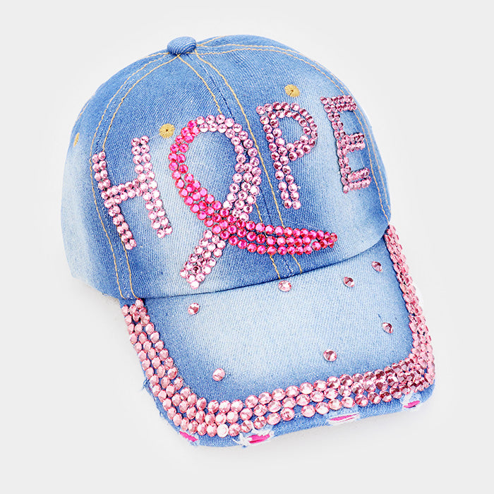 Pink Ribbon Denim Hope Bling Hat