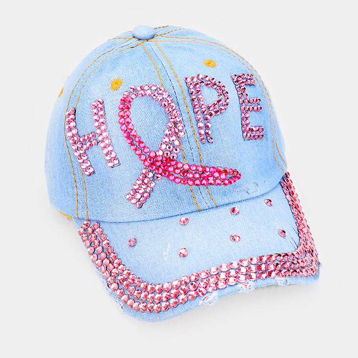 Pink Ribbon Denim Bling Hat