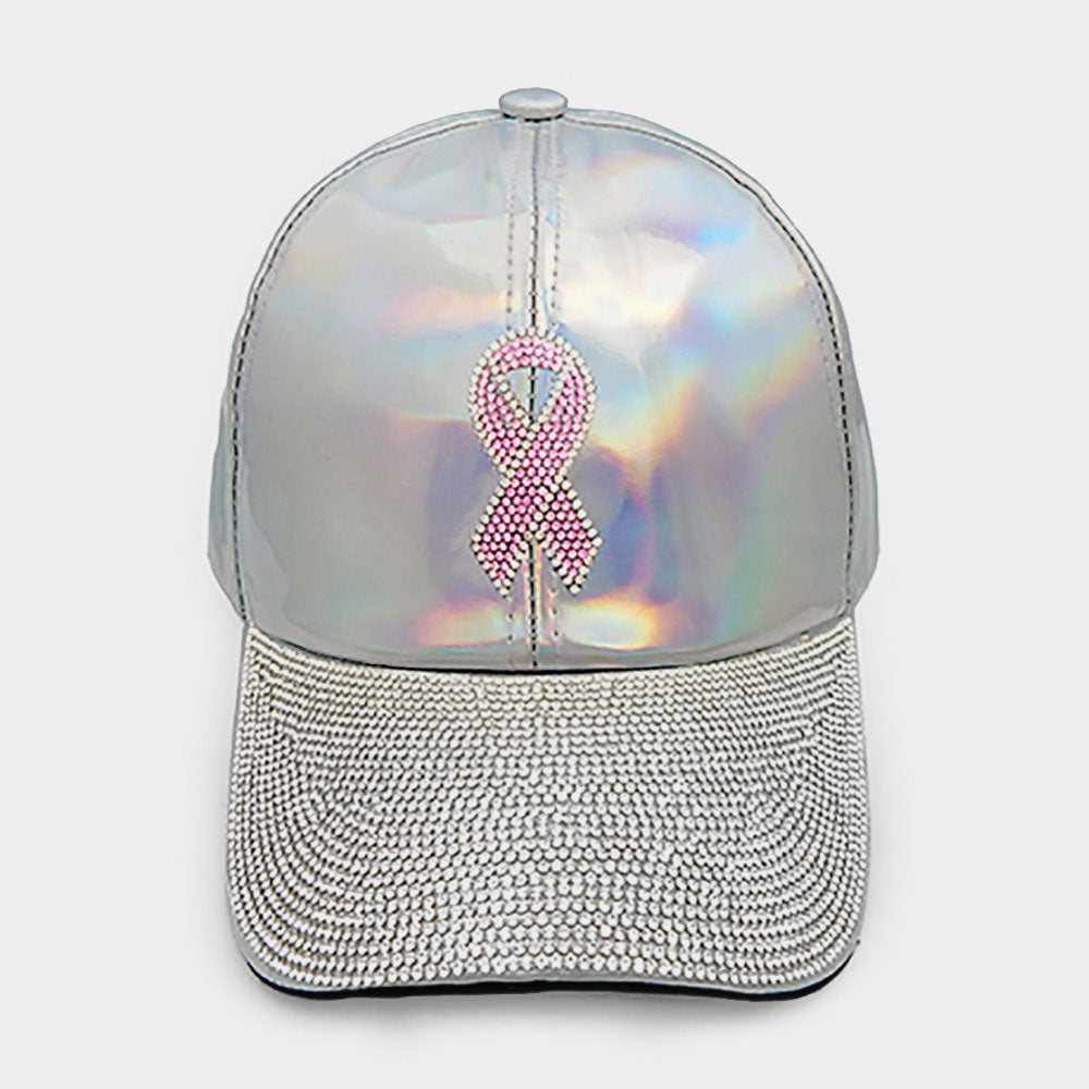 Pink Ribbon Rhinestone Embellished Hat