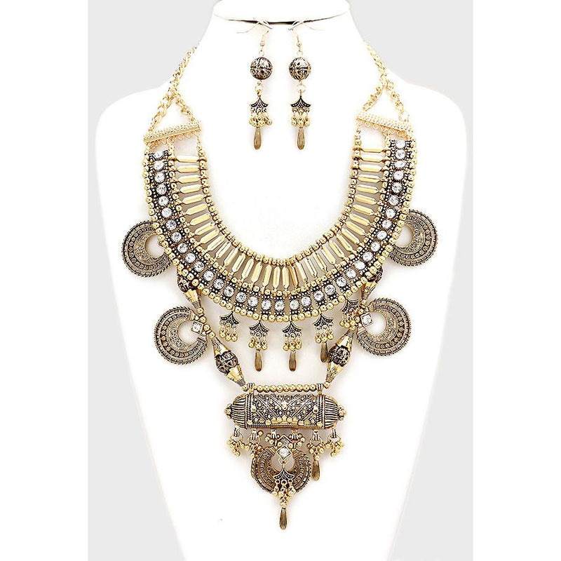 Tribal Crystal Accent Statement Necklace