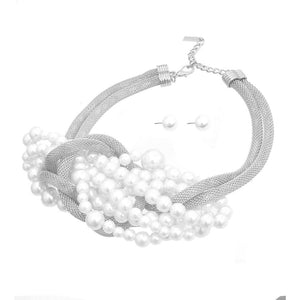 Twisted Pearl Necklace & Earring Set