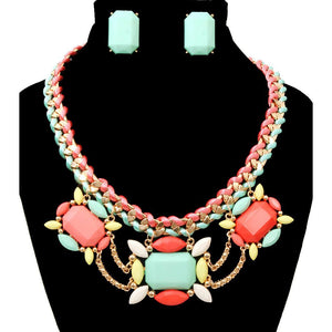 Pastel Faceted Stone Necklace & Earring Set