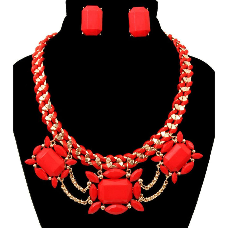 Red Faceted Stone Necklace & Earring Set