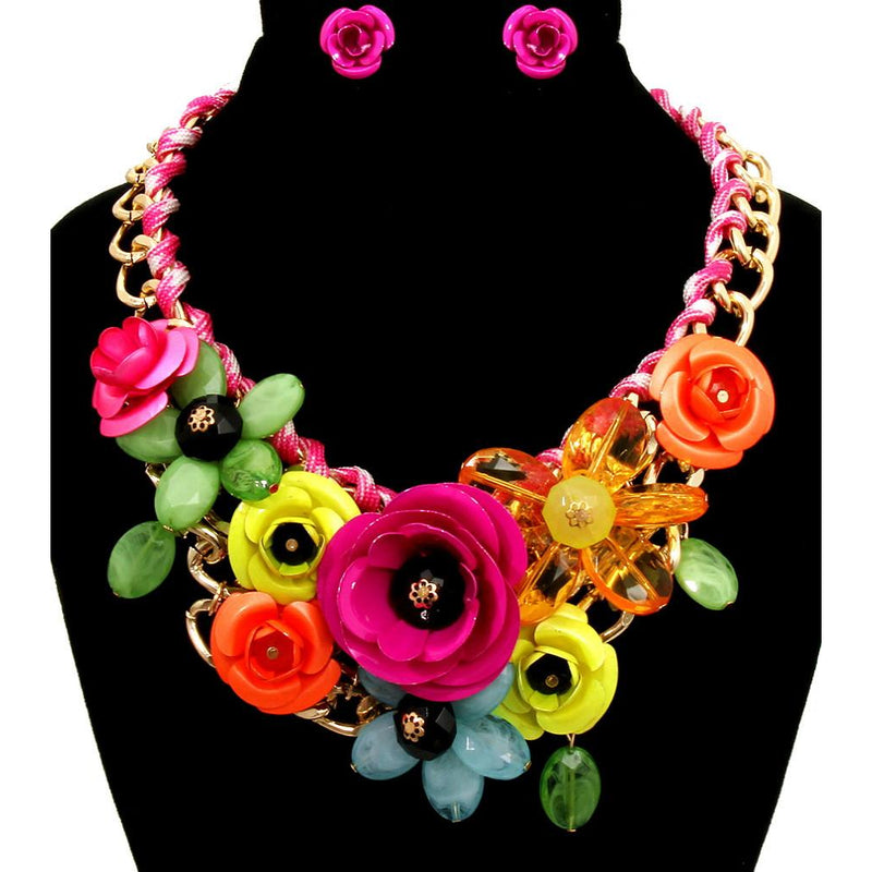 Floral Statement Necklace & Earring Set