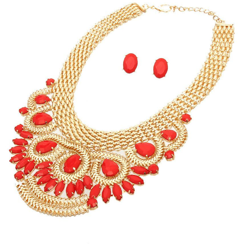 Gold Accent Stone Bib Necklace & Earring Set
