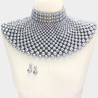 Queen Of Pearls Armor Choker  Necklace Set