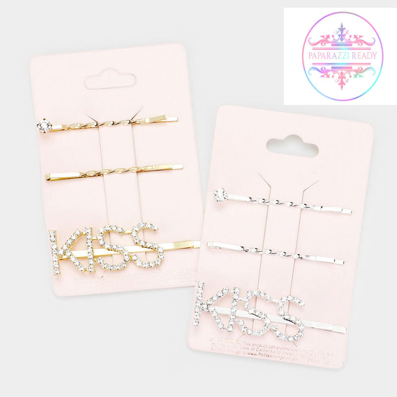Kiss Rhinestone 3pc Bobby Pin Set